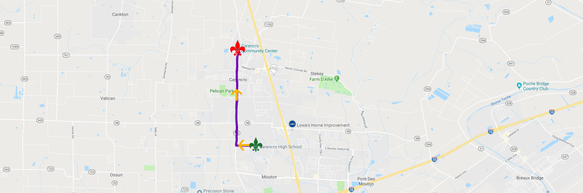 carencro parade route map